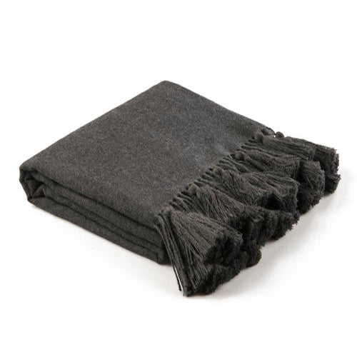 Premium Baby Alpaca Ombre Throw with Tassels - Charcoal