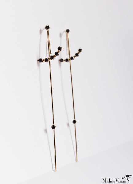 Dark Magic Wand Gold Needle Earring