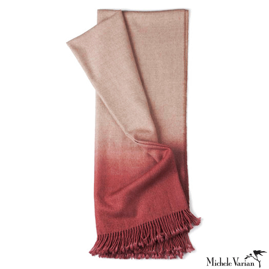Dip-Dye Alpaca Ombre Throw - Tomato