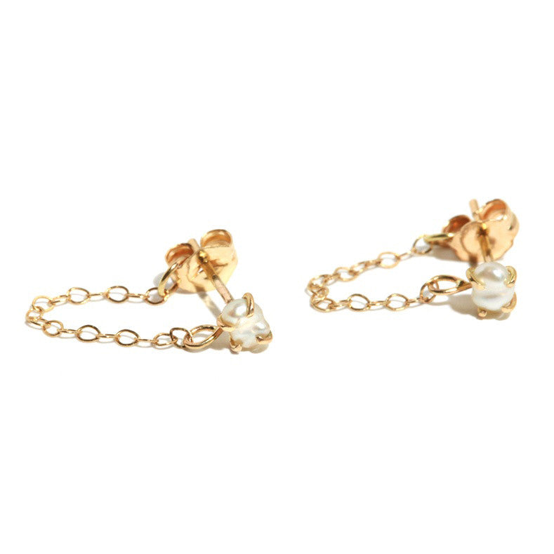 Gold Pearl Post Chain Earrings