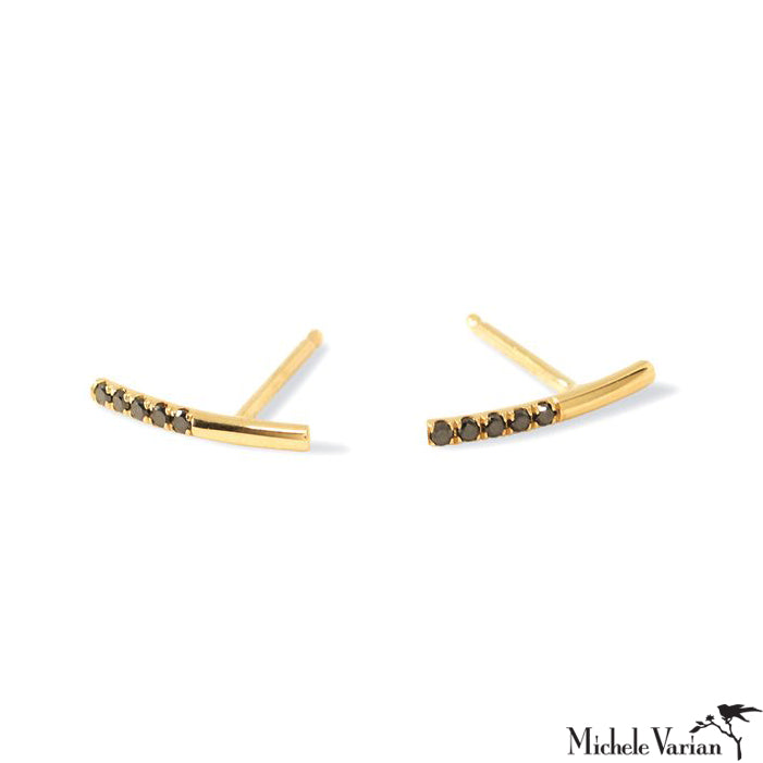 Hook Bar Diamond and Gold Stud Earrings