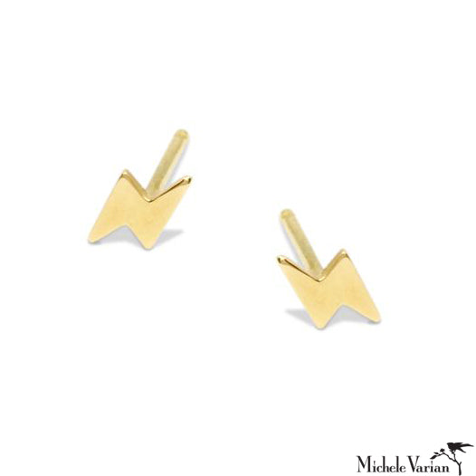 Lighting Bolt Gold Stud Earrings