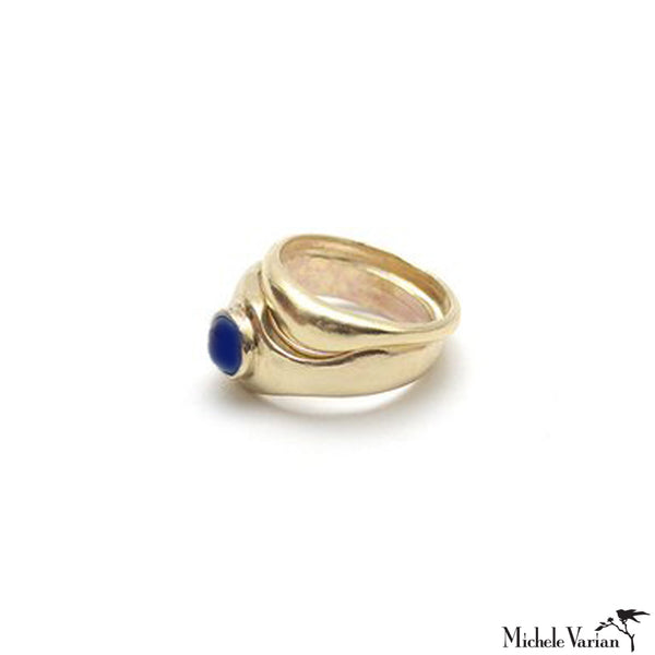 Double Brass and Lapis Ring