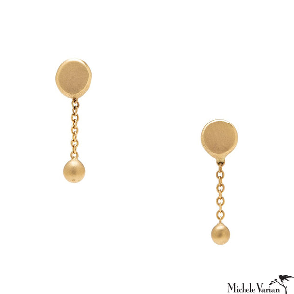 Short Round Ball and Chain Gold Earrings