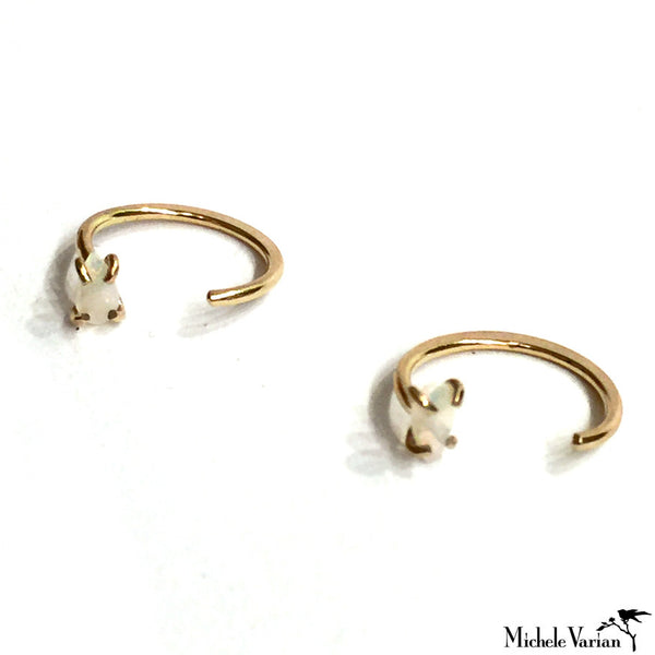 Ear Hugging Gold Hoops - Opal