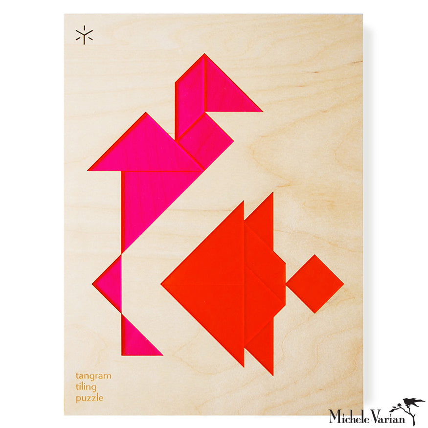 Neon Pink and Orange Crane and Fish Framed Tiling Puzzle