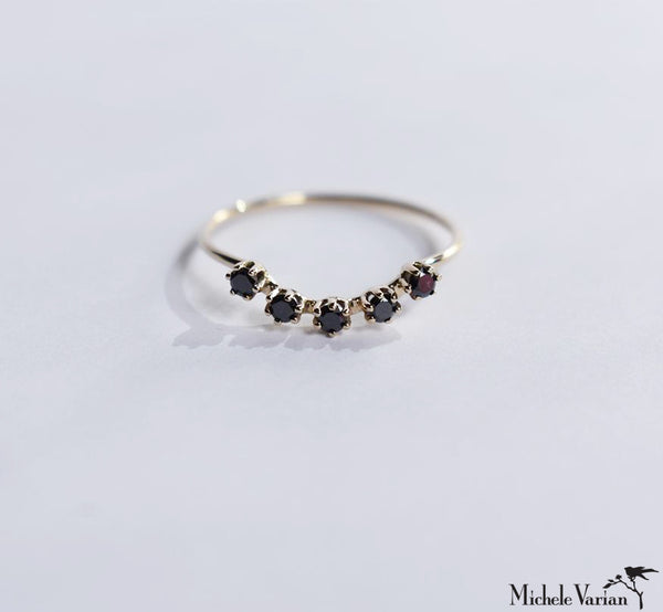Floating Magic Black Diamonds Gold Ring