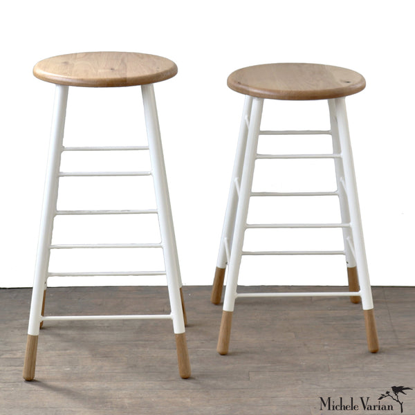 Lattice Stool Oak with White Metal Legs