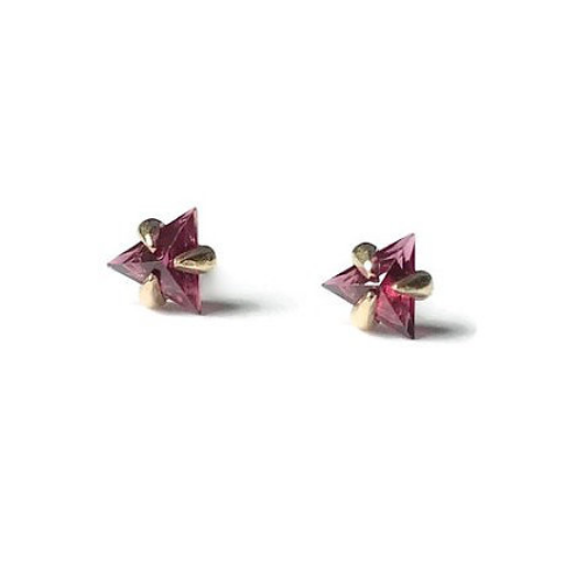 Trillion Shape Garnets Gold Studs