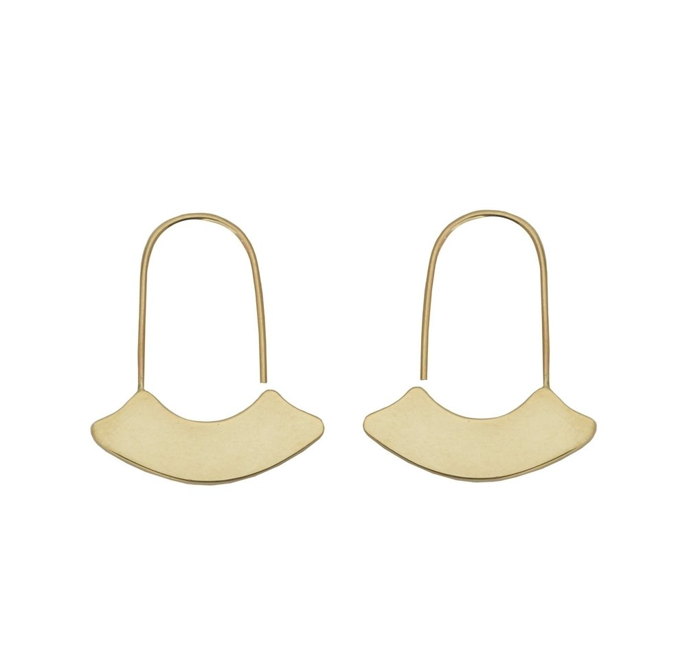 Gold Arch Hoops Earrings