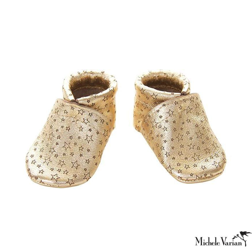 Metallic Gold Star Leather Baby Booties
