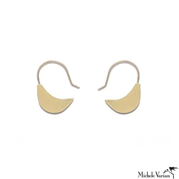 Gold Plated Small Leaf Hoop Earrings