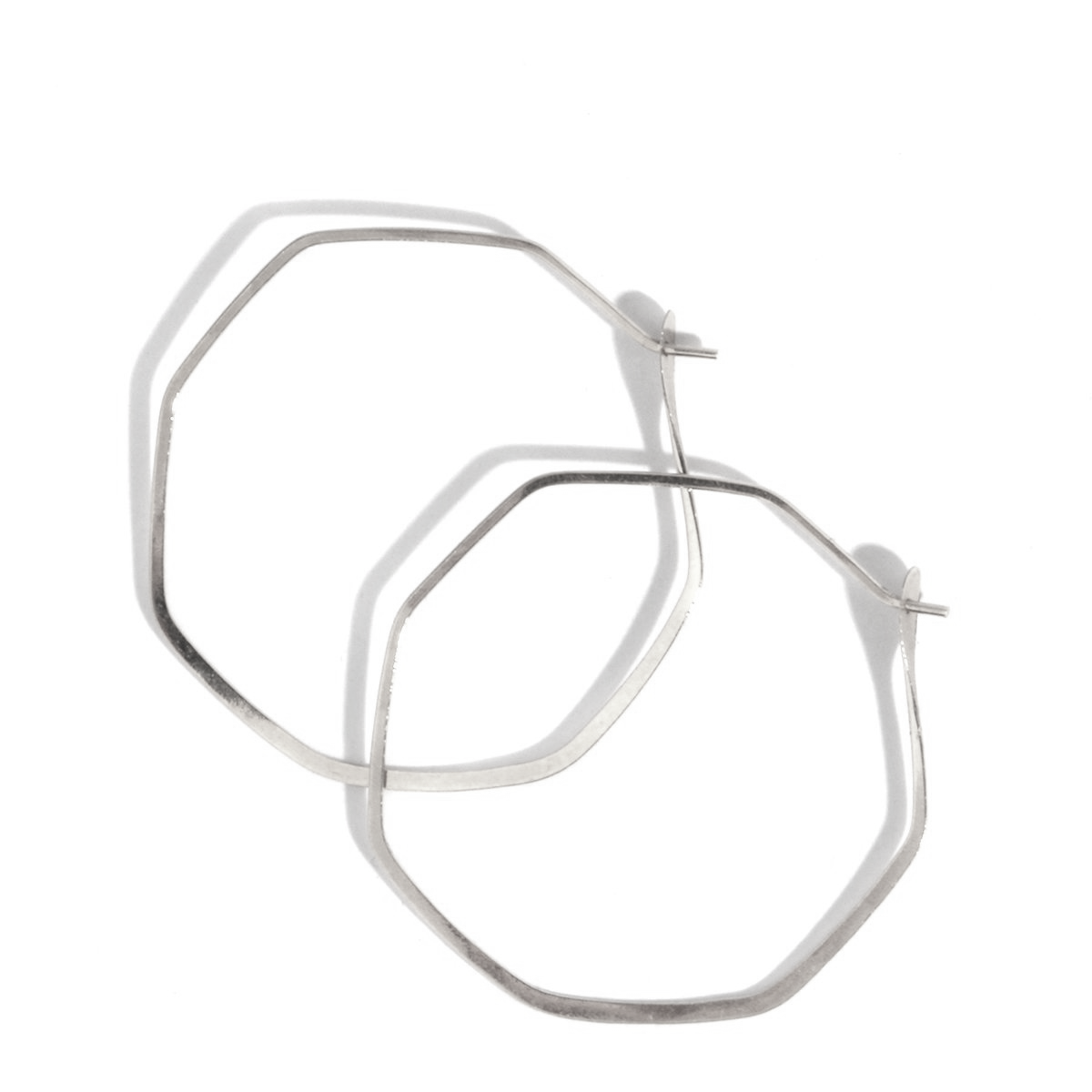 Tiny Octagon  Sterling Silver Hoops