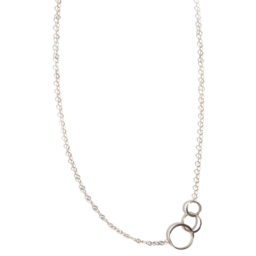 Sterling Silver Hammered Rings Necklace
