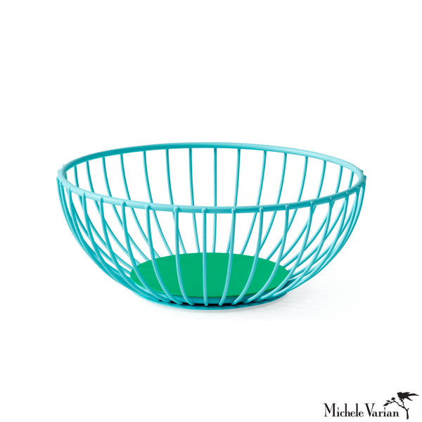 Iris Wire Basket Light Blue and Green Small