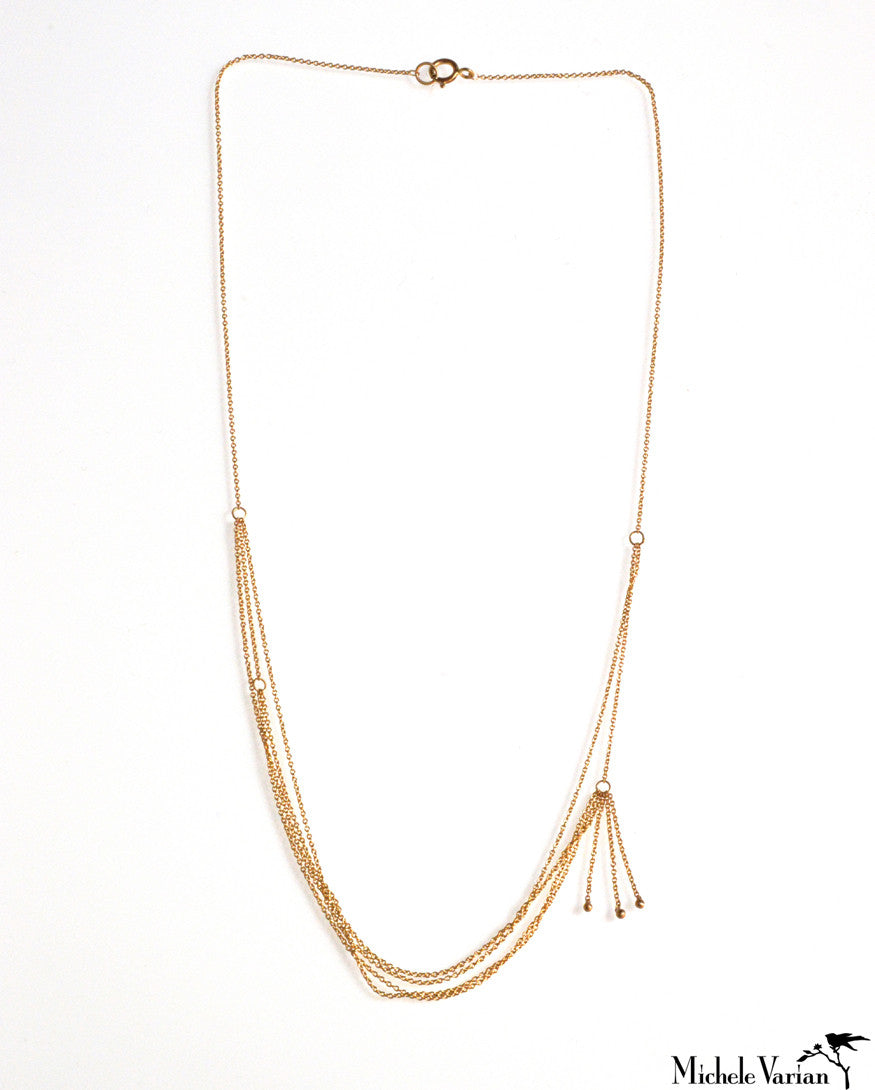Tangled Tassel Gold Necklace
