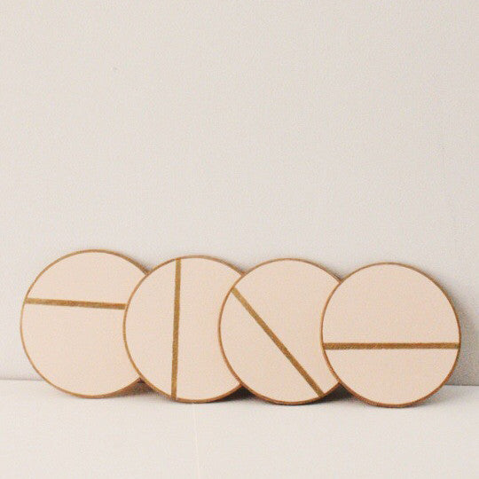 Hand Painted Wooden Coasters Peach
