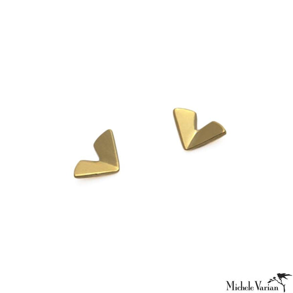 Tiny Solid Gold Origami Leaf Stud Earrings