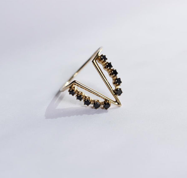 Her Majesty Black Diamonds and Gold Ring