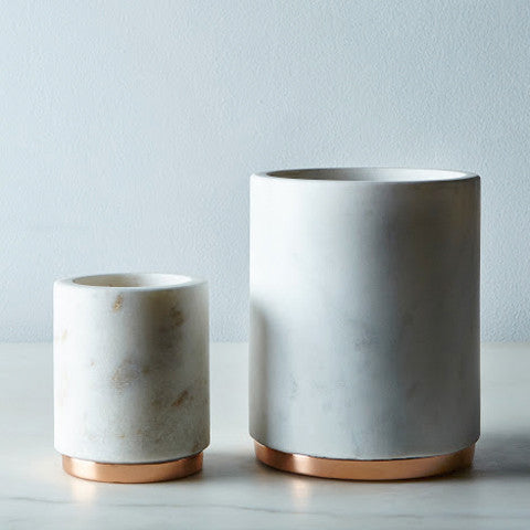 Marble and Copper Vase Or Wine Cooler