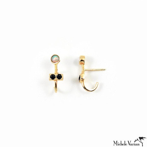 Three Stone Ear Hug Illusion Gold Stud Earrings