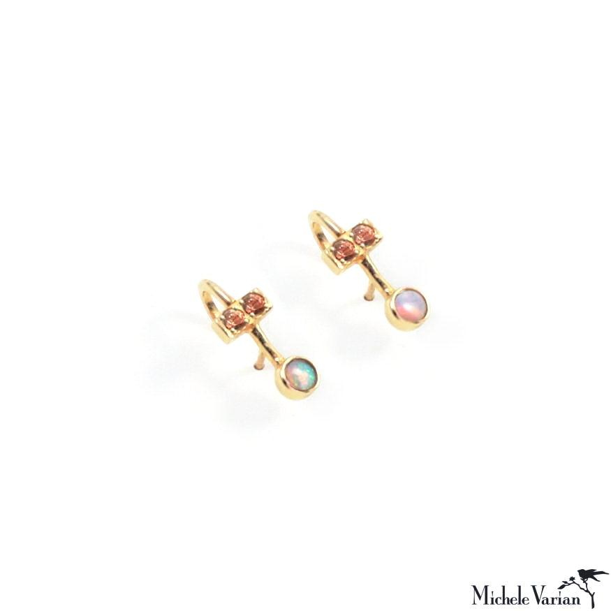 Opal and Sunstone Ear Hug Illusion Gold Stud Earrings