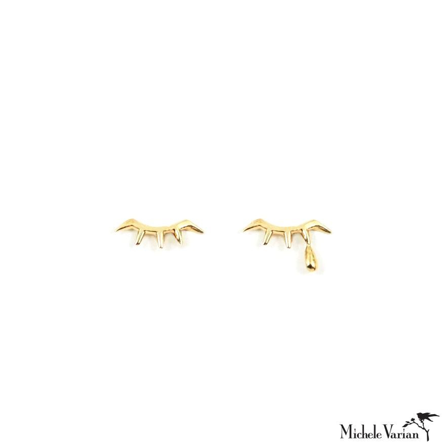 Sad Eye Tear Drop Gold Mismatched Stud Earrings