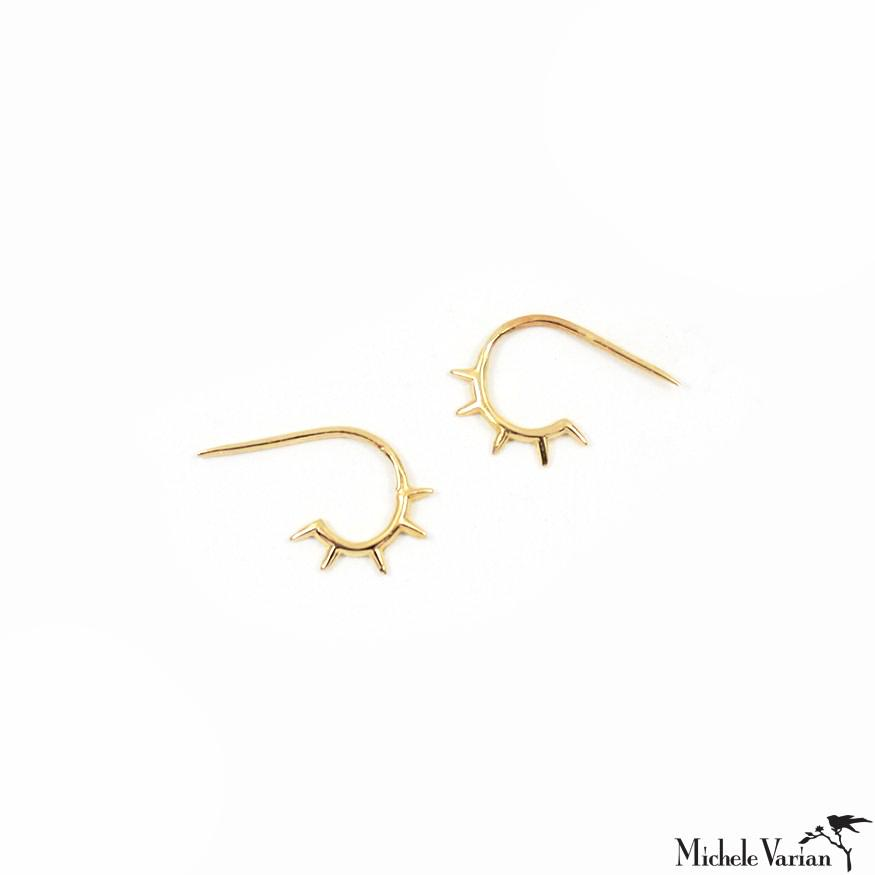 Tiny Twinkle Spikes Gold Stud Earrings