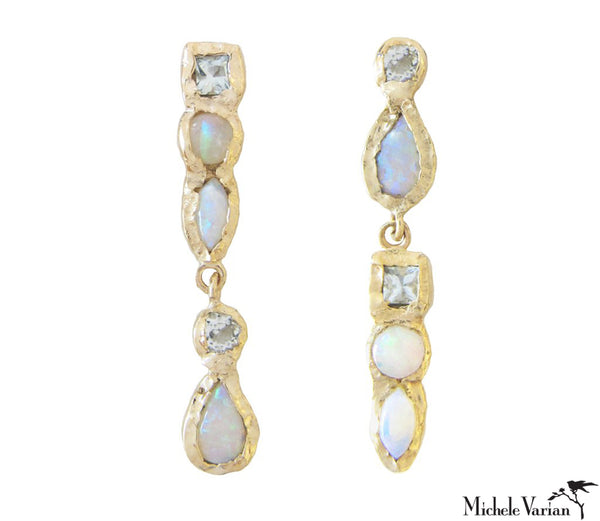 Aquamarine and Opal Drop Gold Cascade Earrings