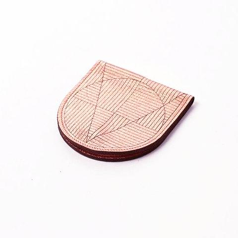 Metallic Leather Flip Crescent Change Purse - Copper