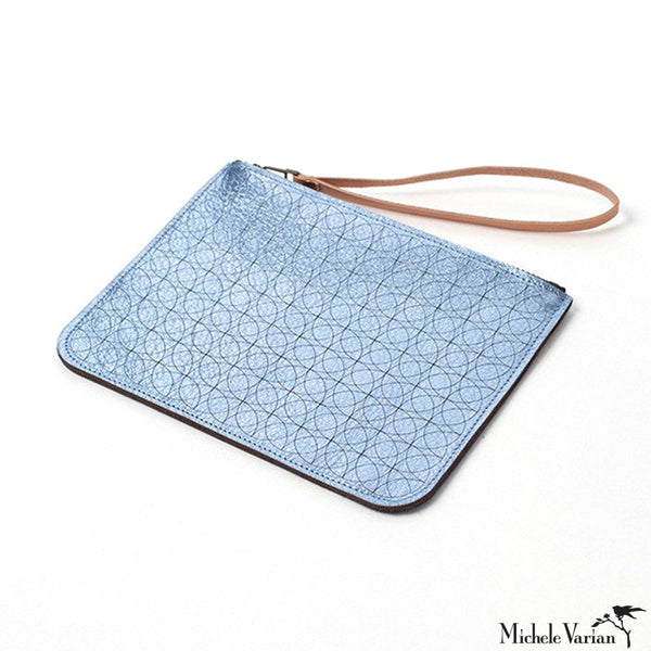 Metallic Leather Pouch- Ice Blue