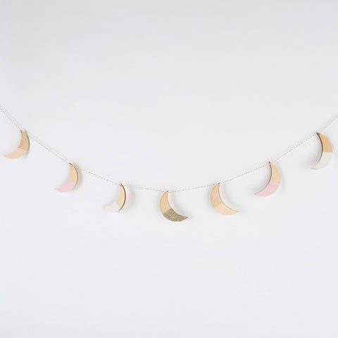Hand-Painted Wooden Moon Garland