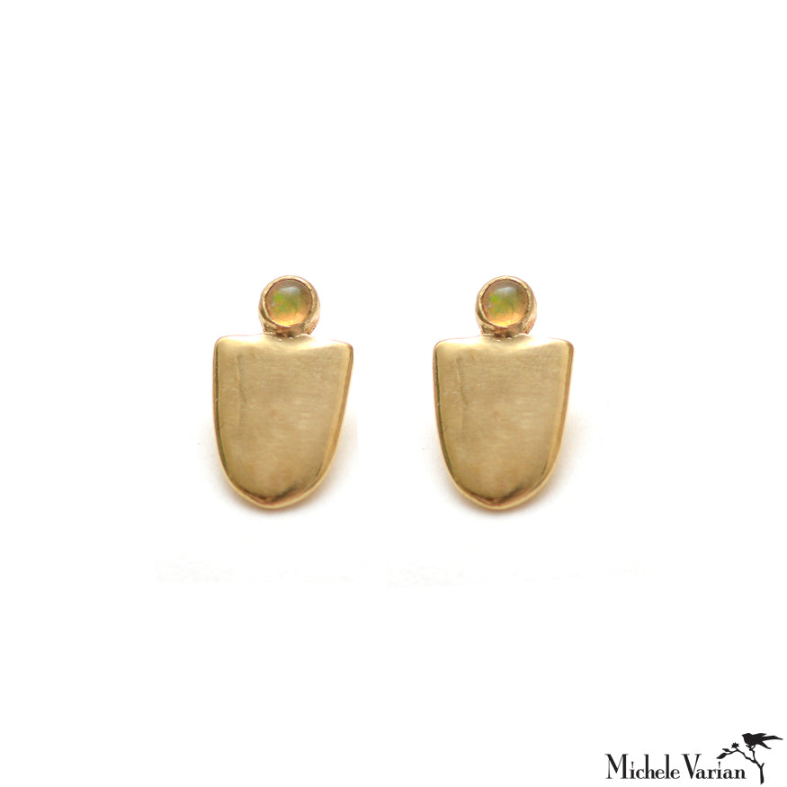 Brass U Shield Opal Stud Earrings