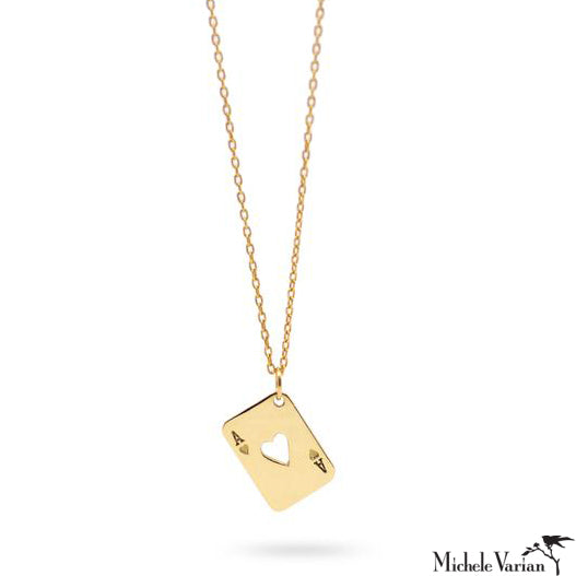 Ace of Hearts Gold Necklace