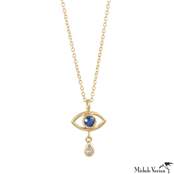 Evil Eye Teardrop Necklace with Sapphire and Diamond