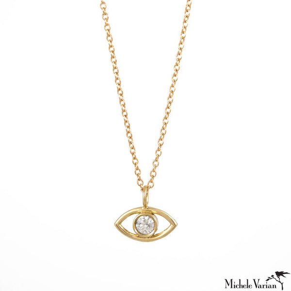 Gold Evil Eye Necklace with Diamond
