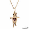 Ghoul Zombie Doll Charm Gold Necklace