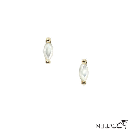 Tiny Marquee Mother of Pearl Gold Stud Earrings