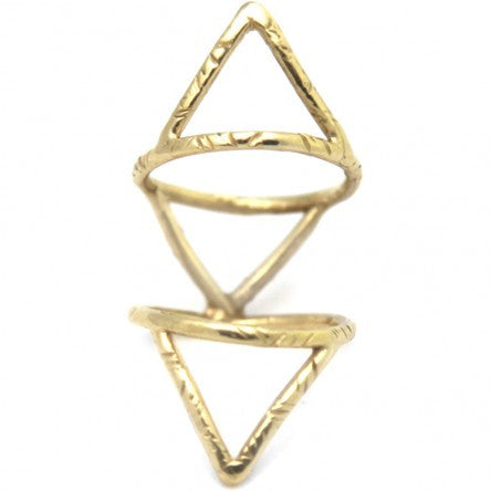 Brass Triangles Cage Ring