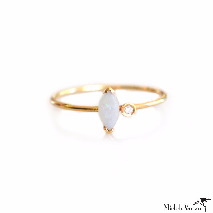 Opal Marquise Gold Ring