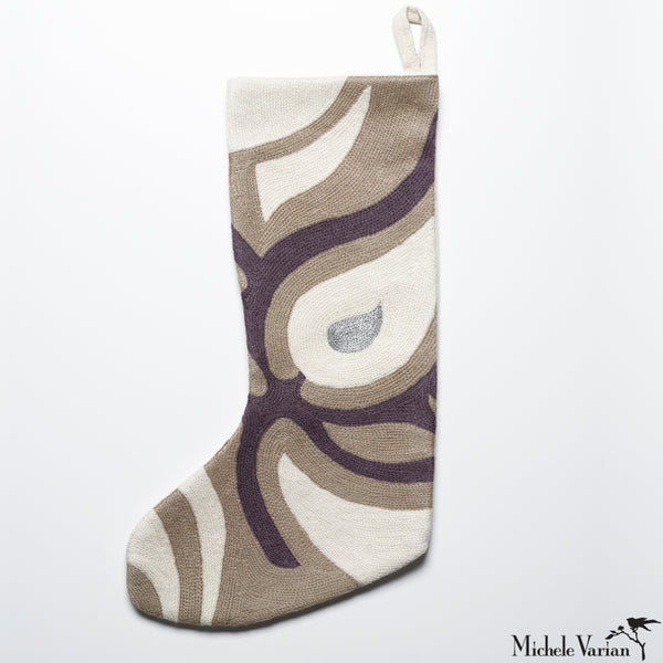 Modern Embroidered Christmas Stocking in Silver Paisley