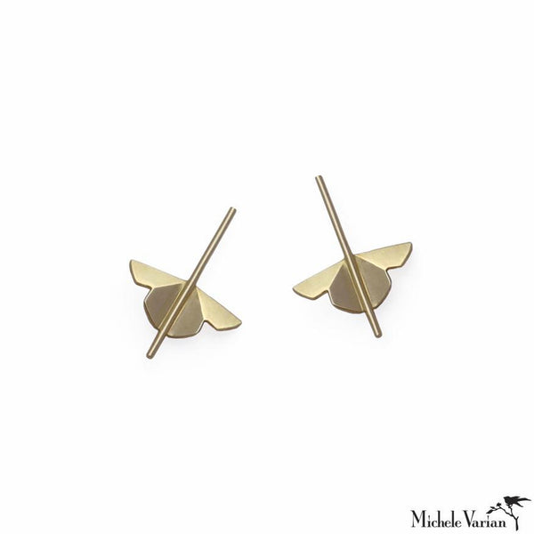 Solid Gold Lotus Stud Earrings