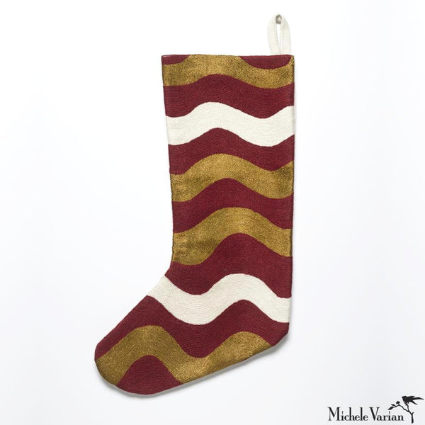Modern Embroidered Christmas Stocking in Rouge Red Ric Rak