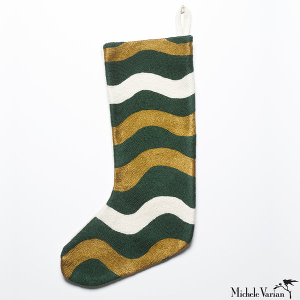 Modern Embroidered Christmas Stocking in Hunter Green Ric Rak