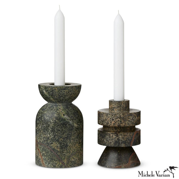 Green Marble Candle Holder Set of 2