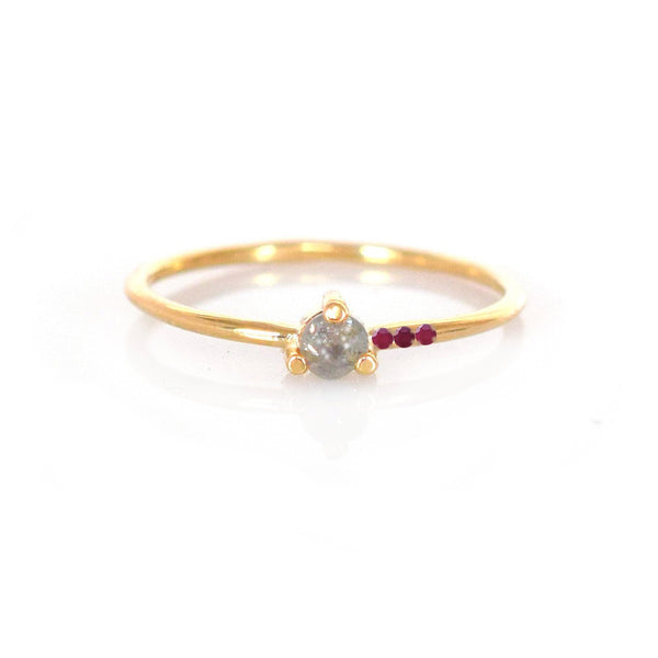 Off Set Ruby and Reverse Set Diamond Ring