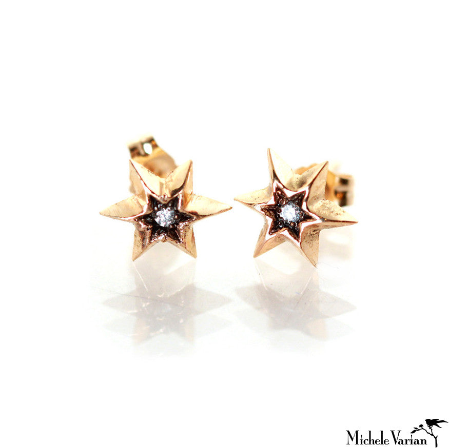 Gold Star Stud Earrings with Diamonds