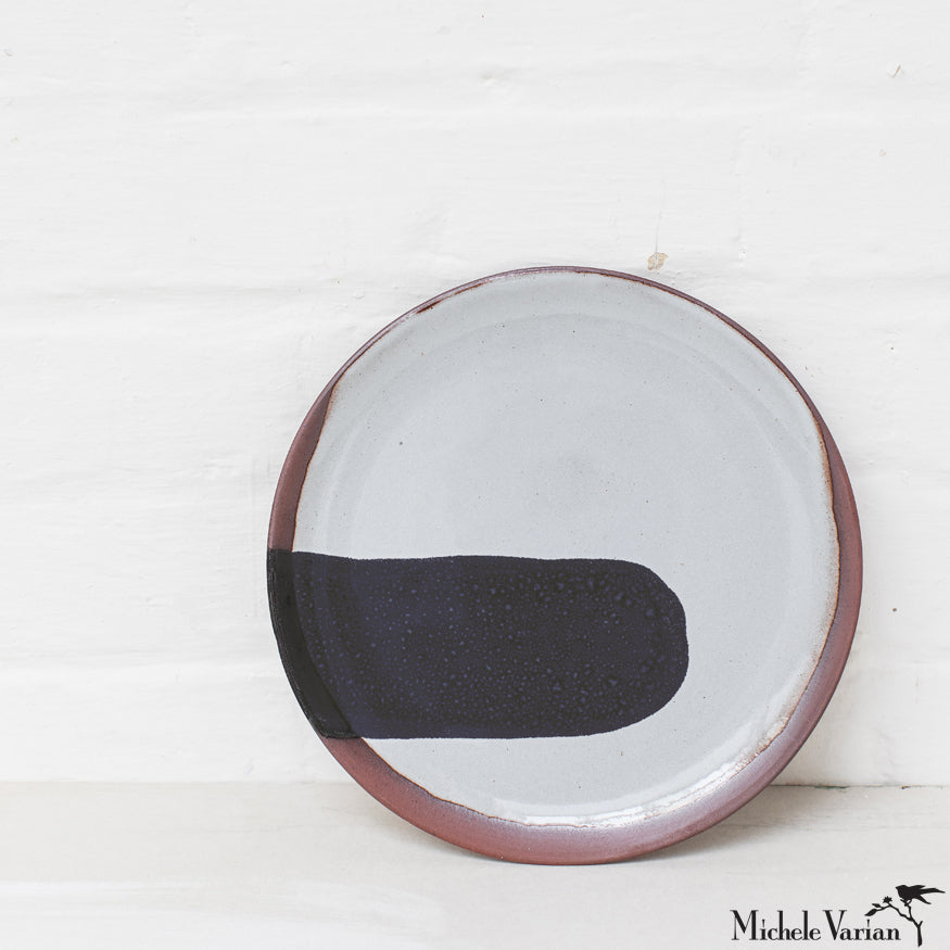 Blot Painted Clay Small Plate in Black