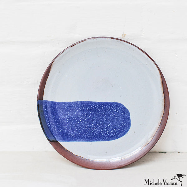 Blot Painted Medium Clay Plate in Cobalt