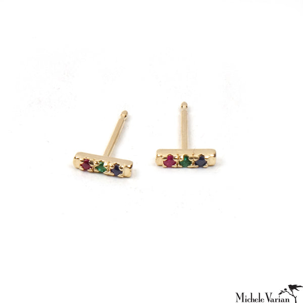Tiny Multi Sapphires Rainbow Gold Stud Earrings